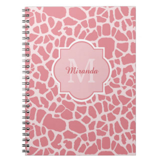 Lovely Pink Giraffe Pattern With Monogram and Name Spiral Notebook