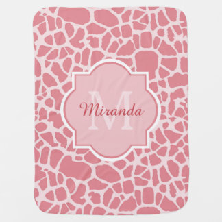 Lovely Pink Giraffe Pattern With Monogram and Name Stroller Blanket