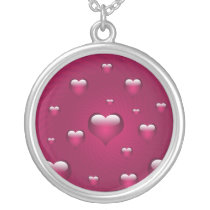lovely pink hearts silver plated necklace
