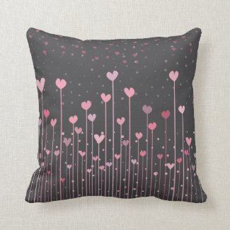 Lovely Pink Hearts Valentine's Day | Throw Pillow