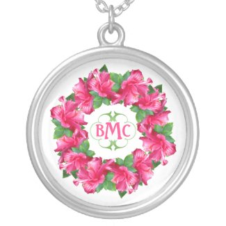Lovely Pink Hibiscus Flowers Monogramed Round Pendant Necklace