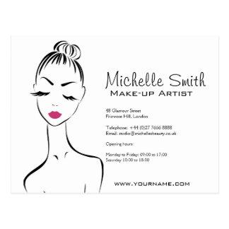 Lovely pink lips make up artist  branding postcard