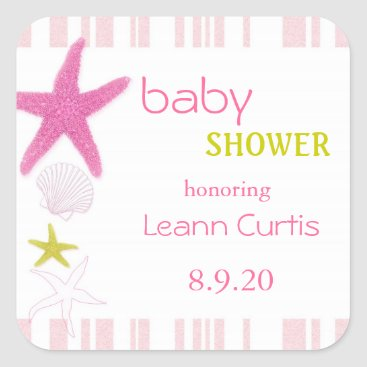 Beach Themed Lovely Pink Nautical Baby Girl Shower Stickers