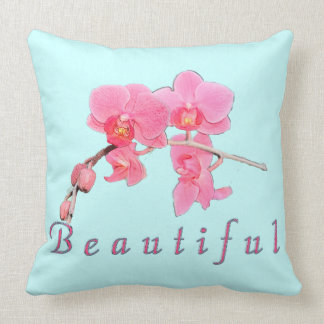 lovely pink orchid flowers beautiful throw pillow