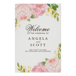 Lovely Pink Peony Welcome Sign (24x36)