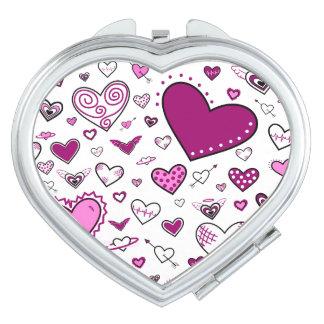 Lovely Pink & Purple Heart Doodles Makeup Mirror