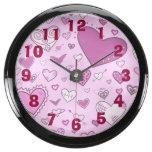Lovely Pink & Purple Heart Doodles (Pink Back) Aquavista Clock