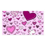Lovely Pink & Purple Heart Doodles (Pink Back) Double-Sided Standard Business Cards (Pack Of 100)