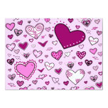 Lovely Pink & Purple Heart Doodles (Pink Back) 5.5x7.5 Paper Invitation Card