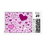 Lovely Pink & Purple Heart Doodles (Pink Back) Postage Stamps