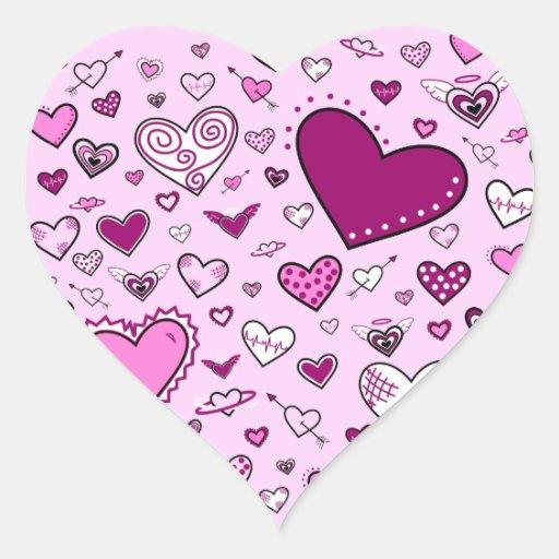 Lovely Pink & Purple Heart Doodles (Pink Back) Heart Sticker