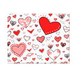 Lovely Pink & Red Heart Doodles Stretched Canvas Prints