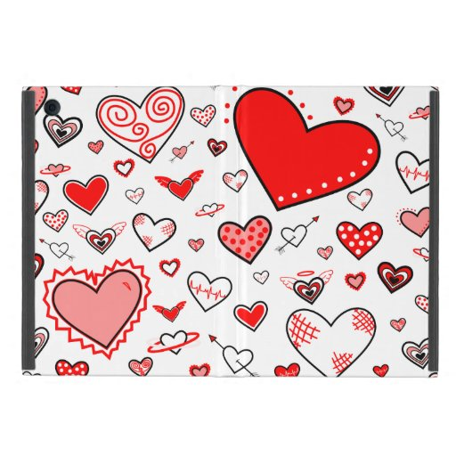 Lovely Pink & Red Heart Doodles Cover For iPad Mini