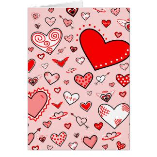 Lovely Pink & Red Heart Doodles (Pink Back) Card