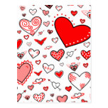 Lovely Pink & Red Heart Doodles Postcard