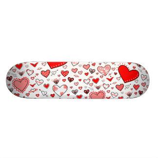 Lovely Pink & Red Heart Doodles Skateboard