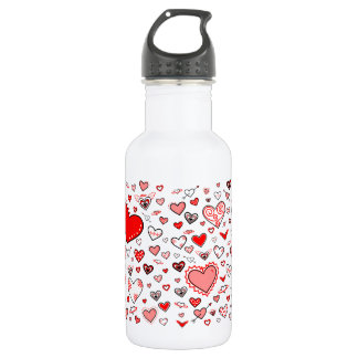 Lovely Pink & Red Heart Doodles Water Bottle
