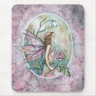 Lovely Pink Rose Fairy Fantasy Art Mousepad
