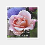 Lovely Pink Rose Floral Art Napkins Paper Napkins