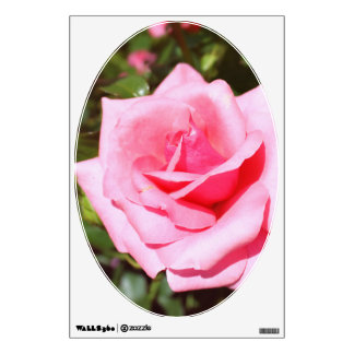 Lovely pink rose flower and sweet hearts. Floral Wall Decal