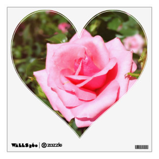 Lovely pink rose flower and sweet hearts. Floral Wall Sticker