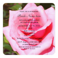 Lovely pink rose flower,sweet hearts bridal shower personalized invite