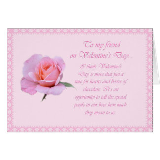 Lovely Pink Rose Happy Valentine's Day Friend Card