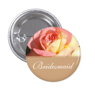 Lovely pink  rose wedding button for bridesmaid.