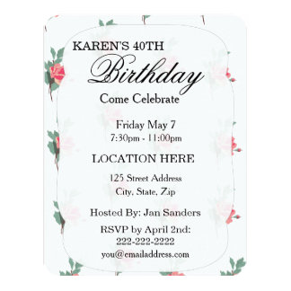 Lovely Pink Roses 4.25x5.5 Paper Invitation Card