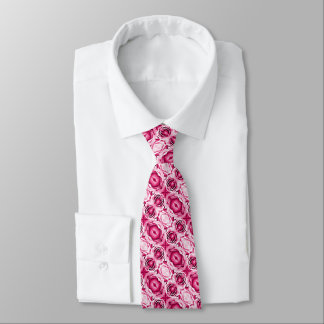 Lovely pink roses floral photo neck tie