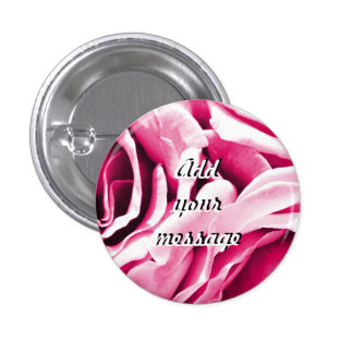 Lovely pink roses floral photo pinback button
