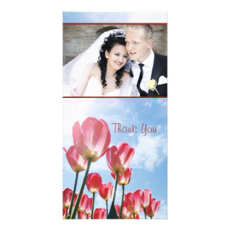 Lovely Pink Tulips and Cloudy Sky Add your photo Photo Card