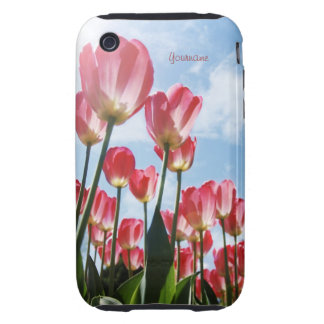 Lovely Pink Tulips and Cloudy Sky iPhone 3 Tough Cover