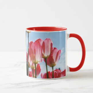 Lovely Pink Tulips and Cloudy Sky Mug