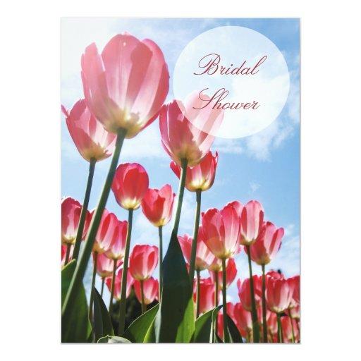 "Lovely Pink Tulips Bridal Shower Invitation 5.5"" X 7.5"" Invitation Card"