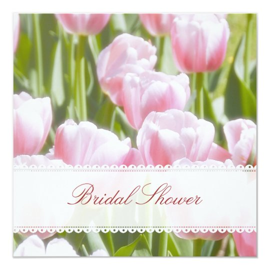 Lovely Pink Tulips Bridal Shower Invitation