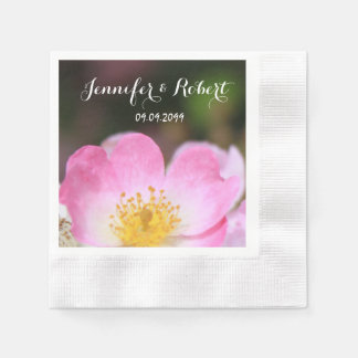 lovely pink wild rose flower picture. Floral photo Paper Napkin