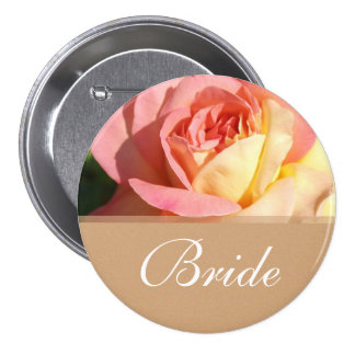 Lovely pink yellow rose wedding  button for bride