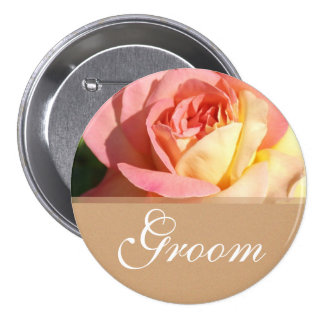Lovely pink yellow rose wedding  button for groom