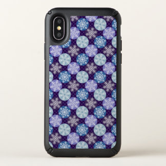 Lovely Purple and Blue Snowflakes Winter Lovers Speck iPhone X Case