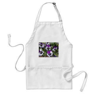 Lovely Purple and White Pansy Art Adult Apron