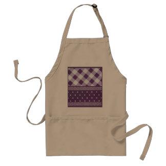Lovely Purple checkered Damask Seamless Pattern Adult Apron