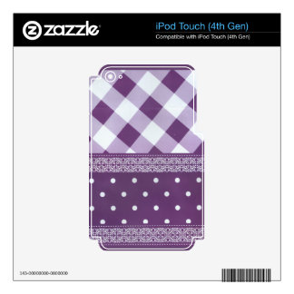 Lovely Purple checkered Damask Seamless Pattern iPod Touch 4G Decals