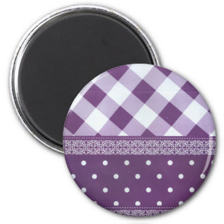 Lovely Purple checkered Damask Seamless Pattern Magnet