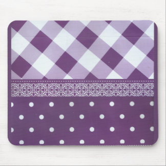 Lovely Purple checkered Damask Seamless Pattern Mouse Pad