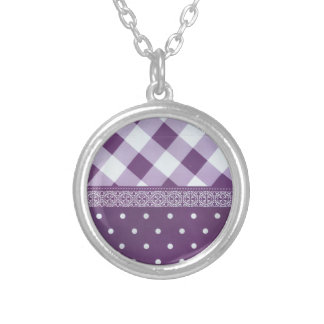 Lovely Purple checkered Damask Seamless Pattern Silver Plated Necklace