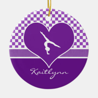 Lovely Purple Checkered Gymnastics with Monogram Ceramic Ornament