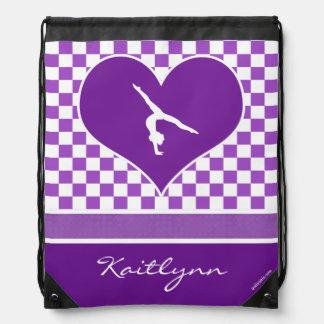Lovely Purple Checkered Gymnastics with Monogram Drawstring Bag