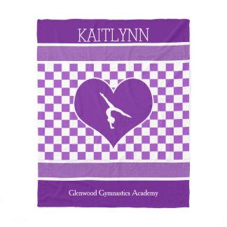 Lovely Purple Checkered Gymnastics with Monogram Fleece Blanket