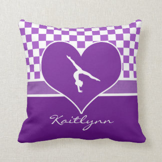 Lovely Purple Checkered Gymnastics with Monogram Throw Pillow